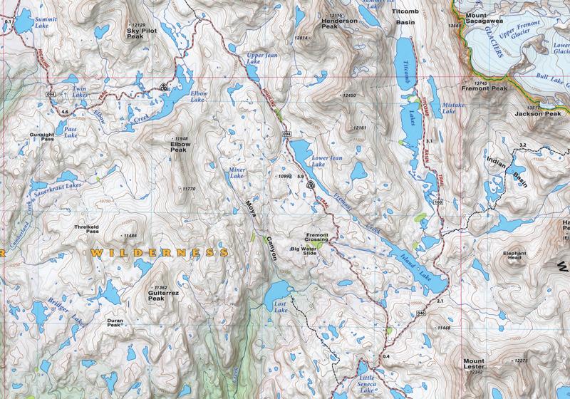 Wind River Range Map Wind River Range North Detail   Beartooth Publishing Wind River Range Map
