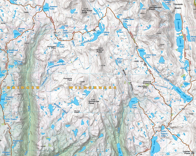 Wind River Range Wyoming Map.Wind River Range North Beartooth Publishing